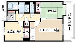 愛知県名古屋市瑞穂区白砂町3丁目の賃貸マンションの間取り