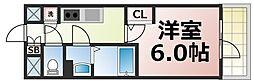 JR大阪環状線 森ノ宮駅 徒歩6分の賃貸マンション 3階1Kの間取り