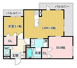 (仮称)シャーメゾン岩田町5丁目 2階2LDKの間取り
