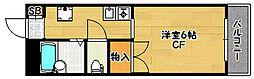 兵庫県神戸市北区鈴蘭台南町2丁目の賃貸アパートの間取り