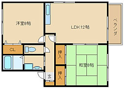 兵庫県加古川市尾上町旭3の賃貸アパートの間取り