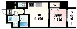 Osaka Metro御堂筋線 江坂駅 徒歩15分の賃貸マンション 9階1DKの間取り