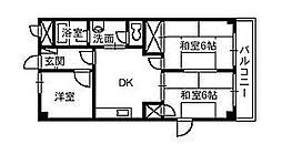 マイシティ大坂(マンション) 3階3DKの間取り