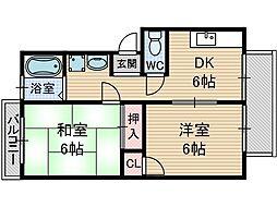 サンハイツ千原[2階]の間取り
