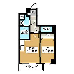 Fujimi Hyatt 3階1DKの間取り