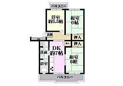 UR湊駅前[49号棟 506号室号室]の間取り