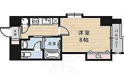 阪急今津線 宝塚南口駅 徒歩5分の賃貸マンション 8階1Kの間取り