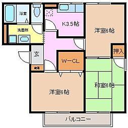 三重県四日市市中川原2丁目の賃貸アパートの間取り