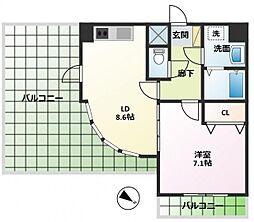 ハイポイント竹ノ塚[801号室]の間取り