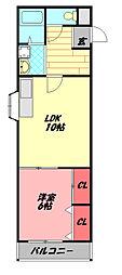 大宮北野マンション 4階1LDKの間取り