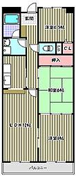 ヴィラ三国ヶ丘2[3階]の間取り