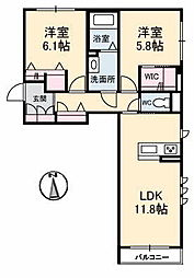 岡山県岡山市北区津島東2丁目の賃貸アパートの間取り