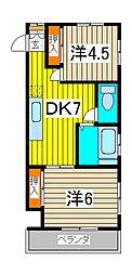 サンハイツ福田[205号室]の間取り