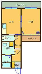 和歌山県御坊市湯川町小松原の賃貸マンションの間取り