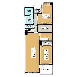 アンソレイエ覚王山[8階]の間取り