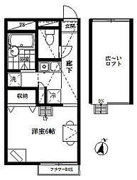 東京都羽村市神明台3丁目の賃貸アパートの間取り