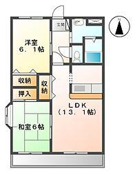 愛知県豊明市阿野町稲葉丁目の賃貸マンションの間取り