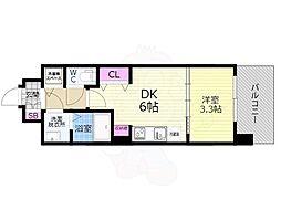 京都市営烏丸線 九条駅 徒歩7分の賃貸マンション 6階1DKの間取り