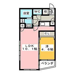 Wagance鎌倉 2階1LDKの間取り
