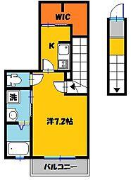 栃木県宇都宮市大和2丁目の賃貸アパートの間取り