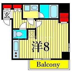 ジェノヴィア木場スカイガーデン 6階ワンルームの間取り