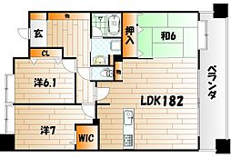 福岡県北九州市八幡東区高見2丁目の賃貸マンションの間取り