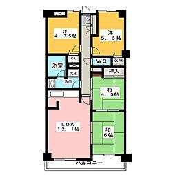 シティコープ本陣通 307号室[3階]の間取り