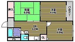 泉ヶ丘コーポラス A1棟[5階]の間取り
