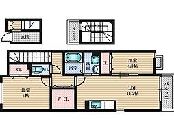 阪急京都本線 上新庄駅 徒歩9分の賃貸アパート 3階2Kの間取り