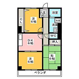 エクセランス川松[5階]の間取り