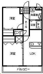 (賃)フローランテII[4階]の間取り