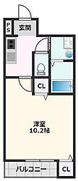 フジパレス吹田金田公園 3階1Kの間取り
