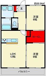 JR篠栗線 桂川駅 4kmの賃貸アパート 1階2LDKの間取り