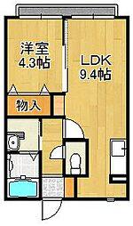 奈良県橿原市八木町3の賃貸アパートの間取り
