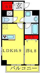 グランシャリオ西新井 3階1LDKの間取り