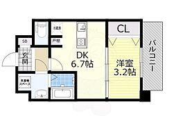 SOAR SHINNAGATA 10階1DKの間取り