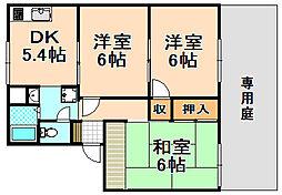 兵庫県尼崎市猪名寺1丁目の賃貸アパートの間取り