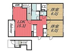 千葉県成田市川栗の賃貸アパートの間取り
