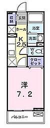 JR片町線(学研都市線) 星田駅 徒歩10分の賃貸マンション 1階1Kの間取り