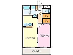 近鉄山田線 斎宮駅 徒歩25分の賃貸マンション 2階1LDKの間取り