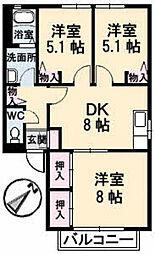 ディアス・リリーB棟[2階]の間取り