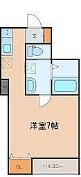 ソレイユ柏木 3階ワンルームの間取り