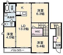 クレセオ B棟[2階]の間取り