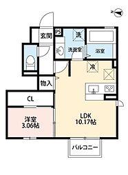 福岡県北九州市小倉北区片野新町1丁目の賃貸アパートの間取り