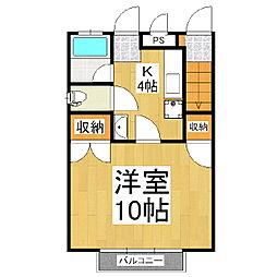 カーサマサキE棟[102号室]の間取り
