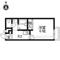 京阪宇治線 観月橋駅 徒歩11分の賃貸アパート 2階1Kの間取り