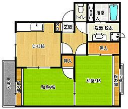 京都府京都市北区大宮玄琢北町の賃貸アパートの間取り