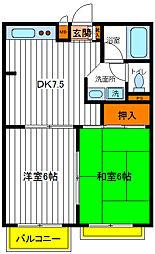 東京都国立市青柳2丁目の賃貸マンションの間取り