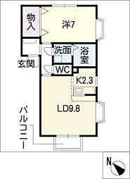 クレストコート笹山II[2階]の間取り