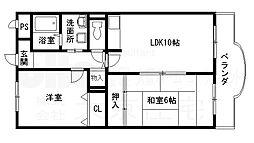 大阪府八尾市中田1丁目の賃貸マンションの間取り
